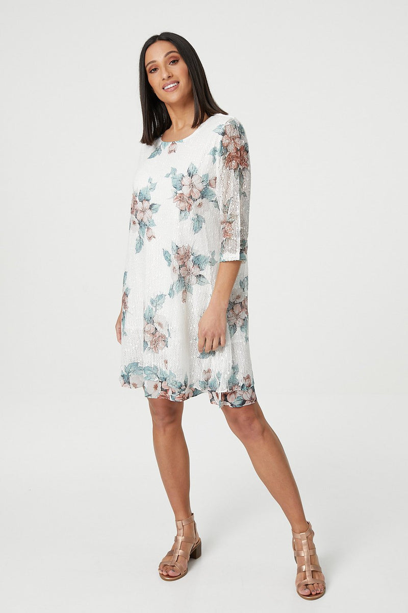 Green | Floral Knit Shift Dress