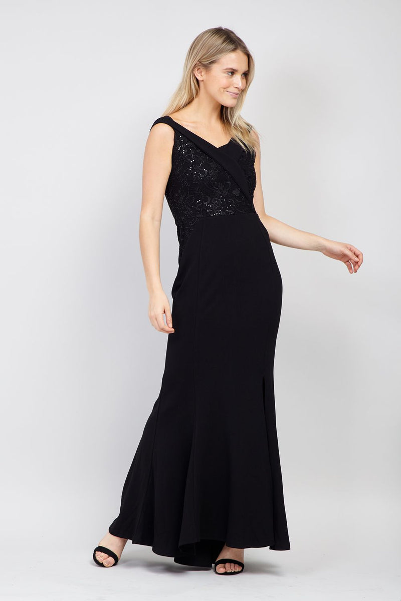 Black | Sequin Top Bardot Maxi Dress