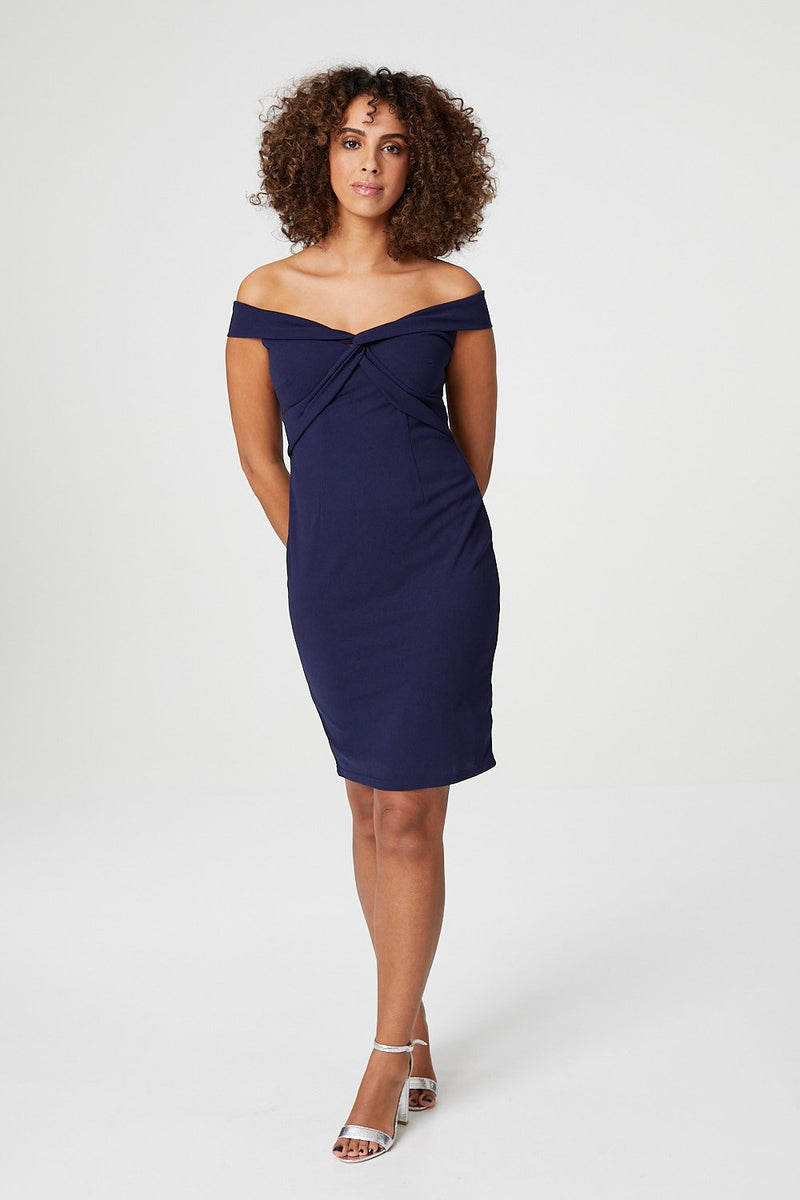 Navy | Cross Front Bodycon Dress