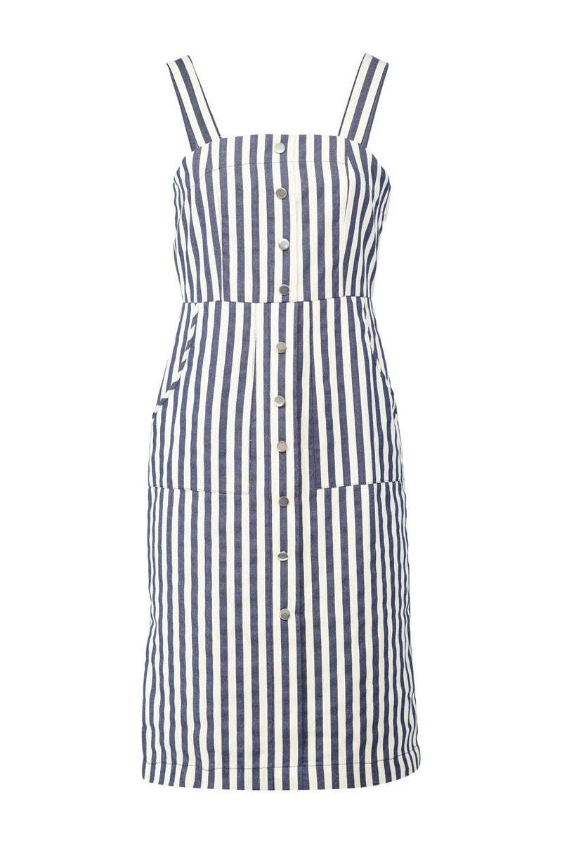 Navy | Striped Pinafore Dress