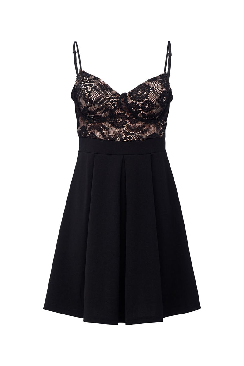 Black | Lace Bodice Skater Dress