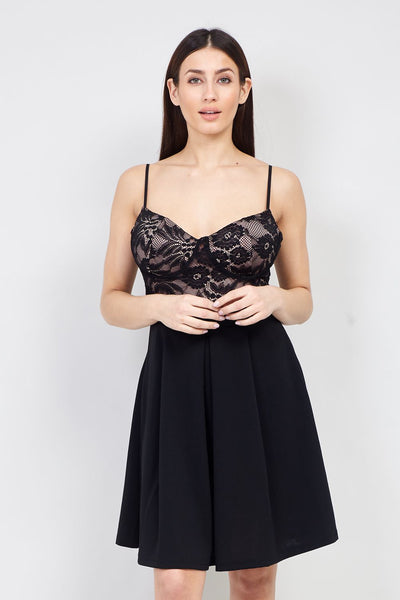 Lace Bodice Skater Dress - Izabel London