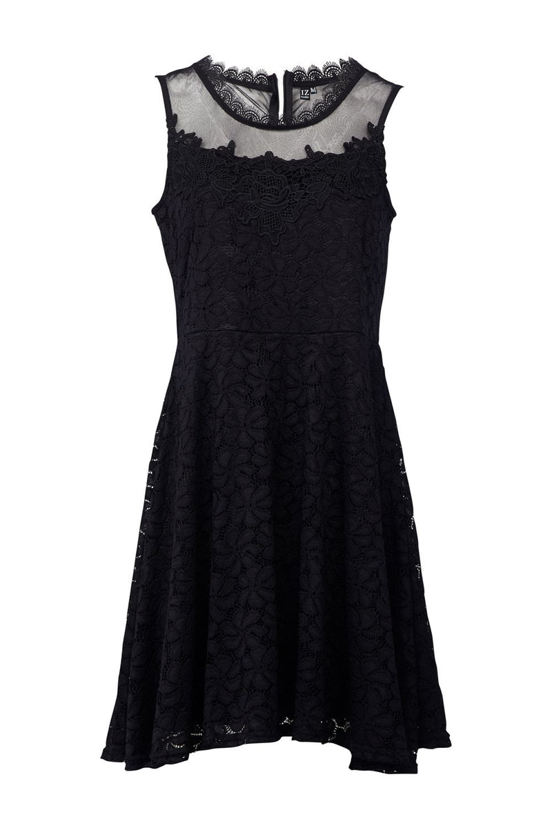 Black | Lace Skater Dress