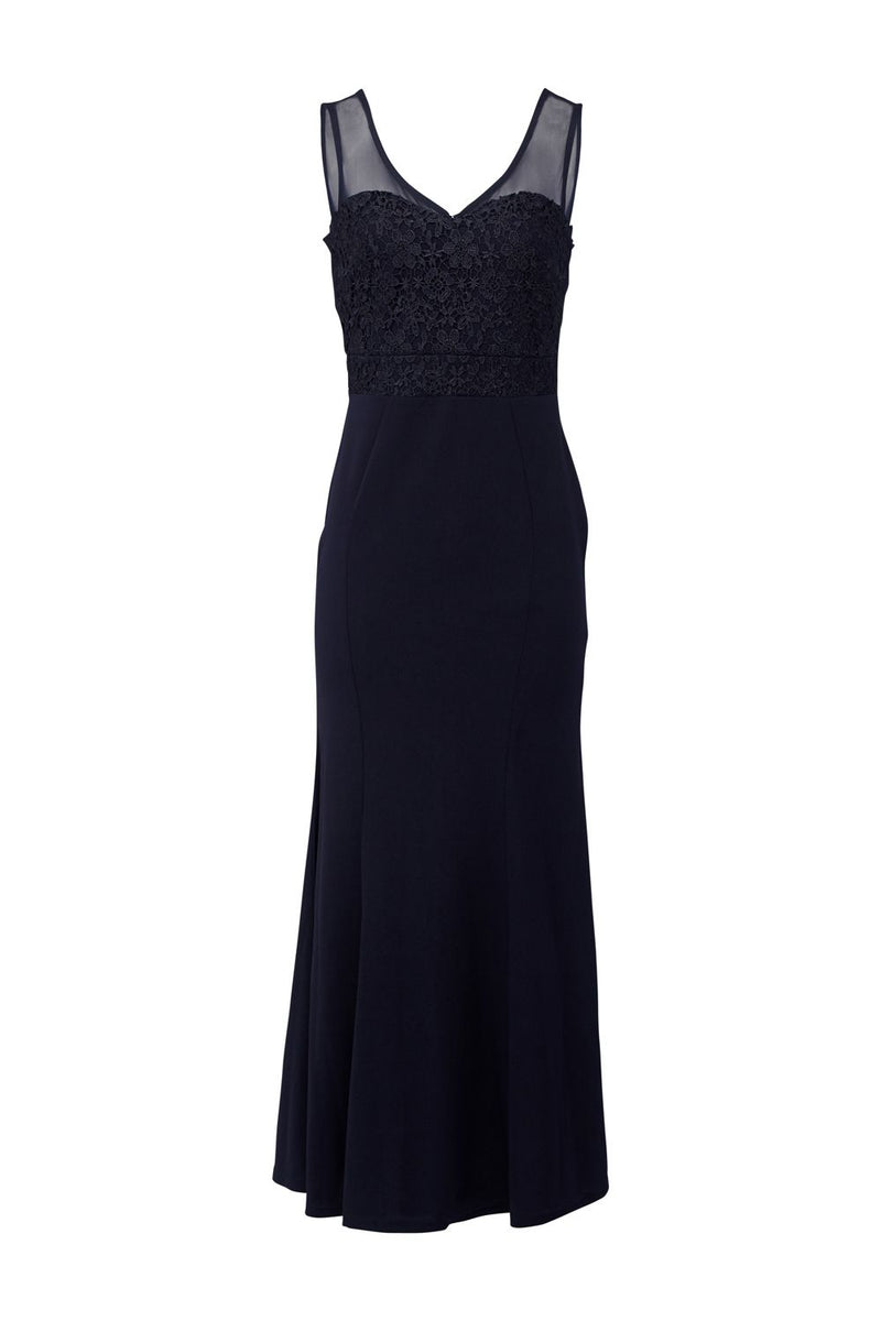 Navy | Lace Top Fishtail Maxi Dress