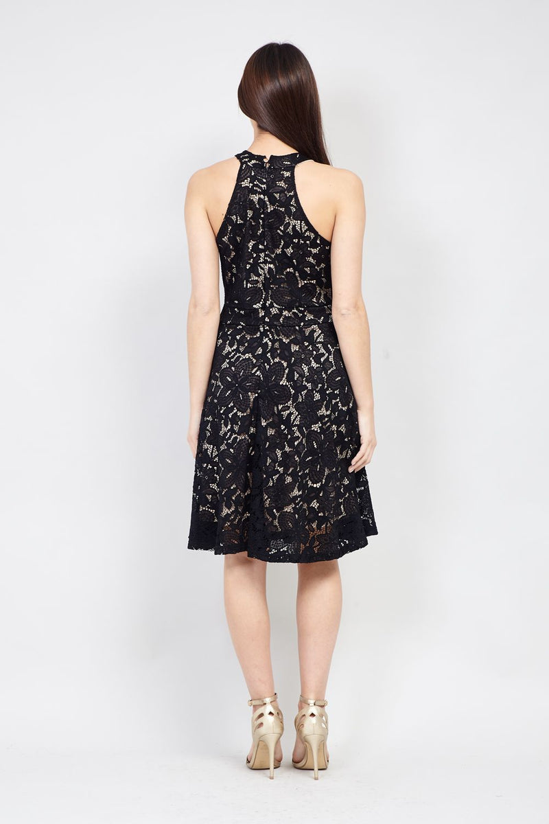 Black | Lace Halterneck Dress