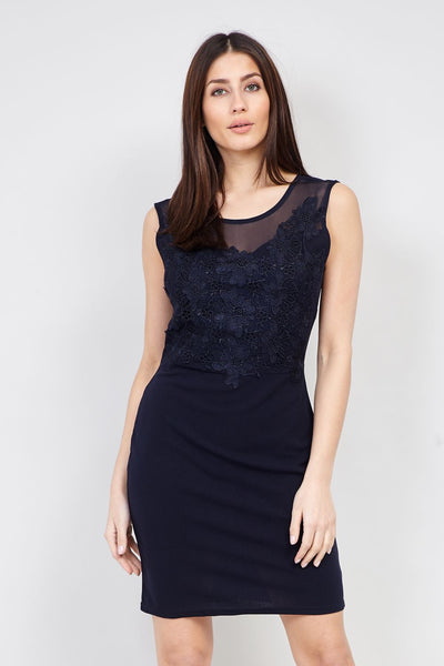 Lace Top Bodycon Dress - Izabel London