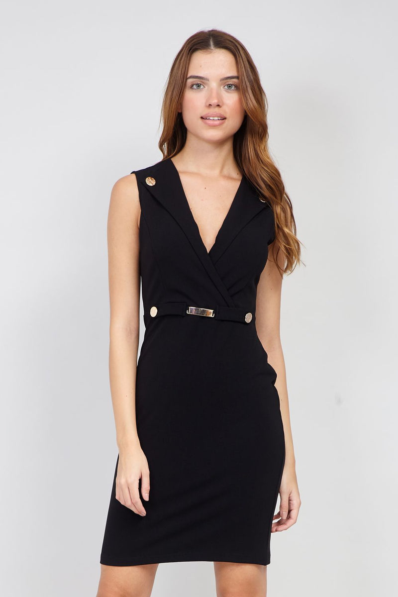 Black | Military Style Bodycon Dress