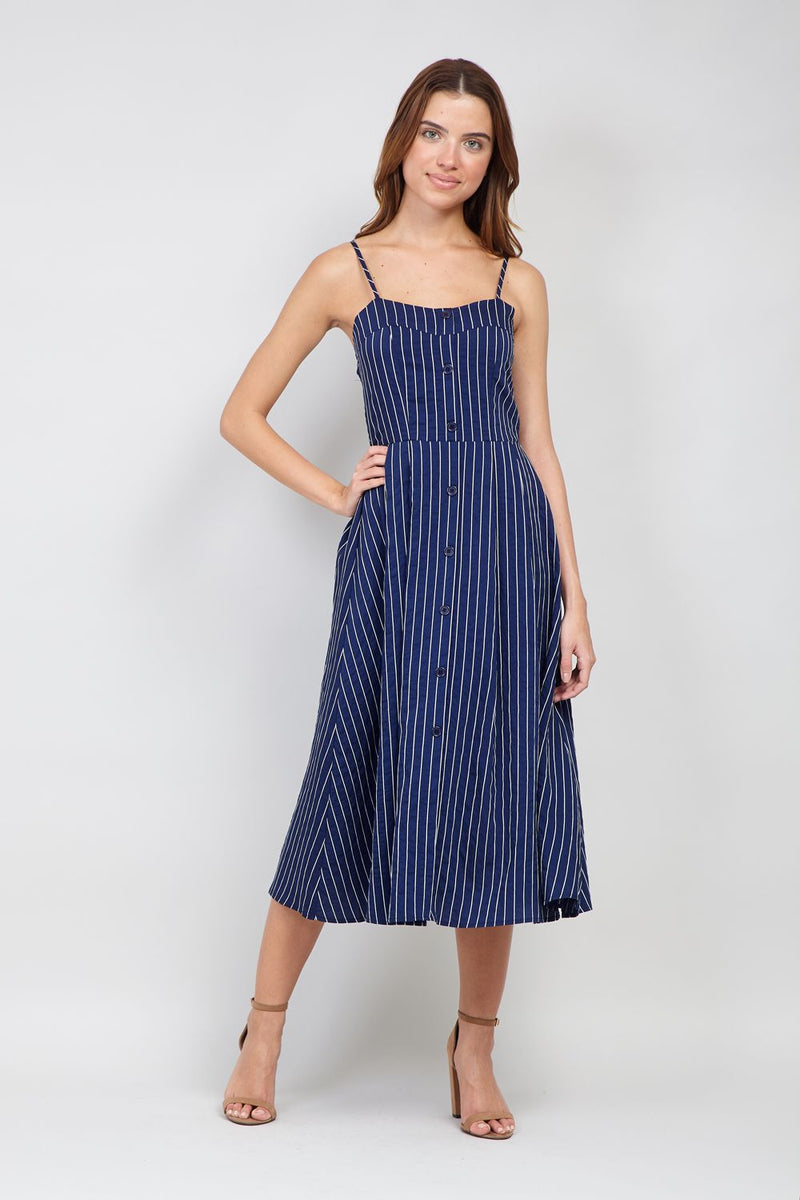 Navy | Striped Button Front Cami Dress