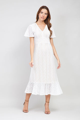 Button Front Lace Midi Dress