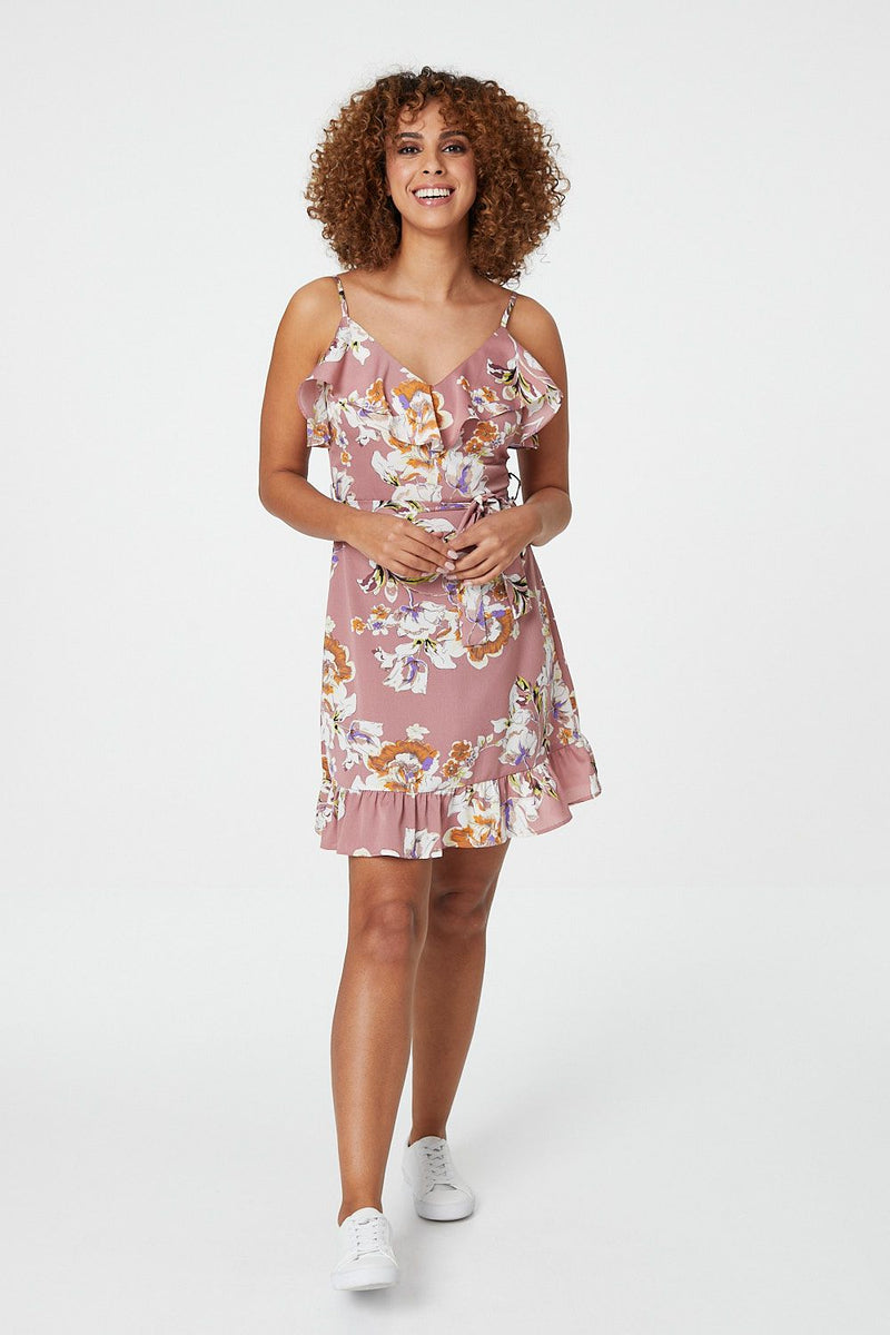 Pink | Ditsy Floral Pephem Dress