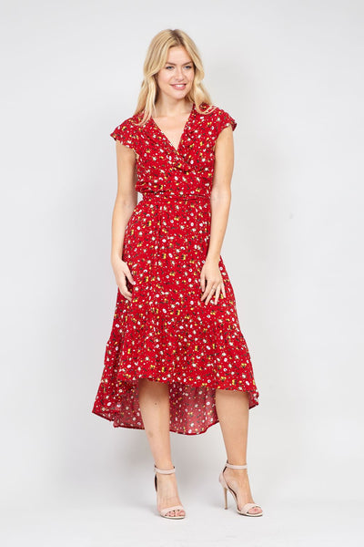 Red | Floral High Low Maxi Dress | Izabel London
