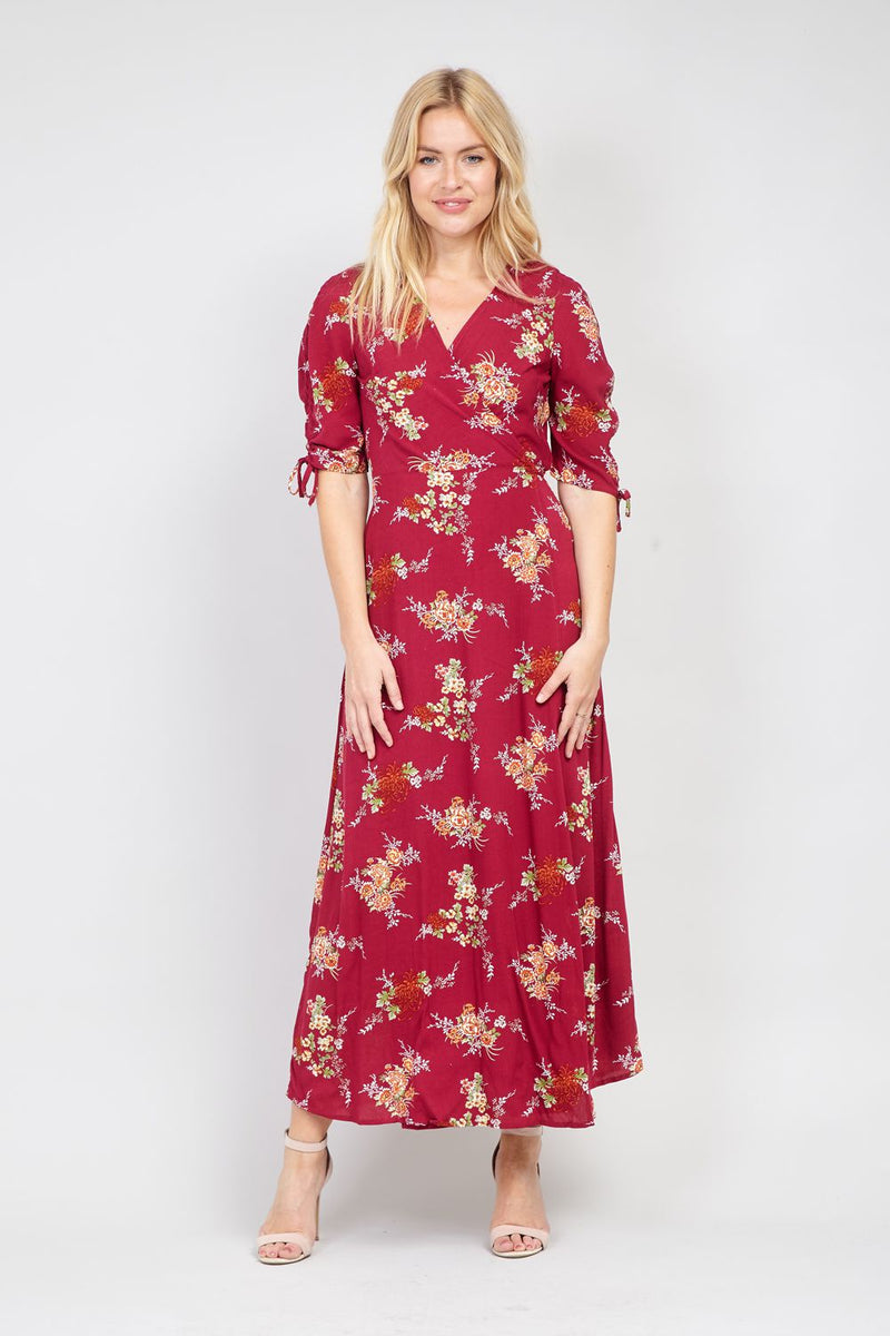 Burgundy | Floral Wrap Front Maxi Dress
