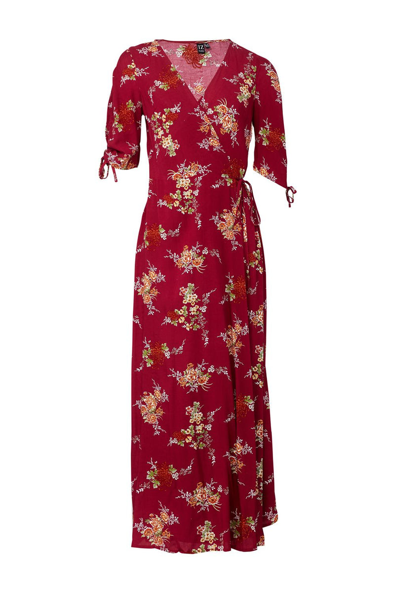 Red | Floral Wrap Front Maxi Dress