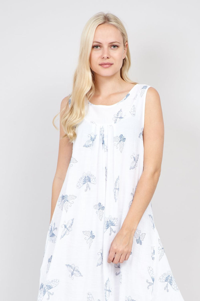 White | Butterfly Print Smock Dress