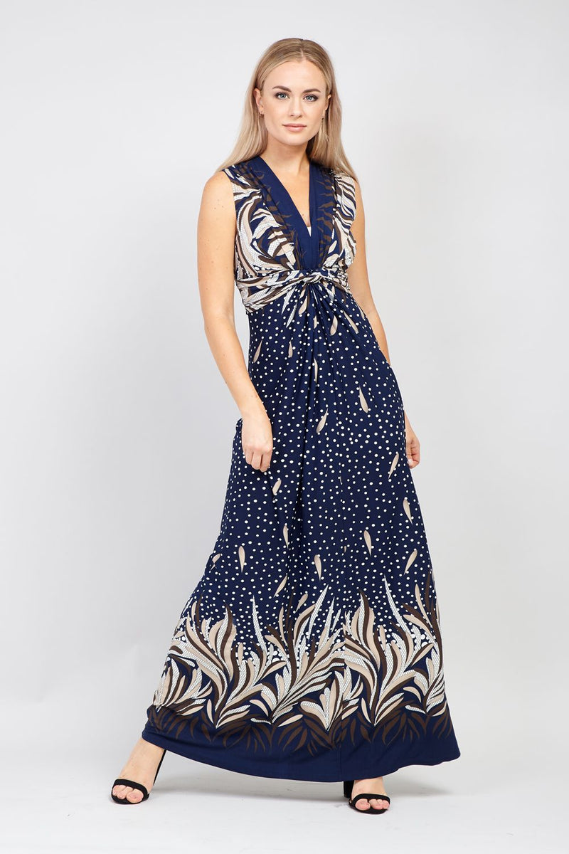 Navy | Knot Front Maxi Dress