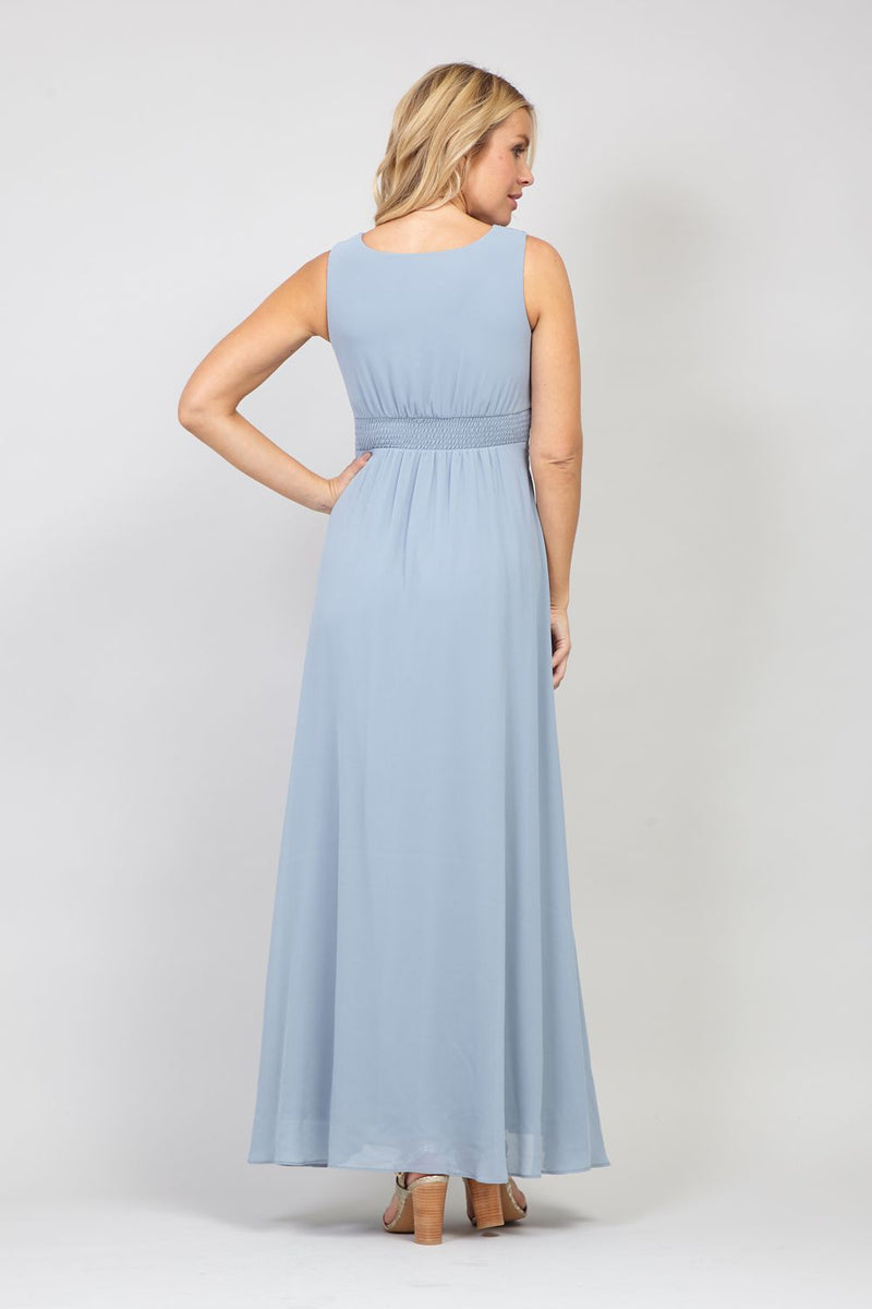 Grey | Draped Front Maxi Dress