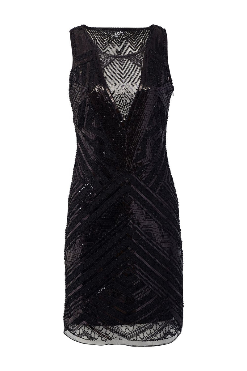Black | Aztec Sequin Party Dress