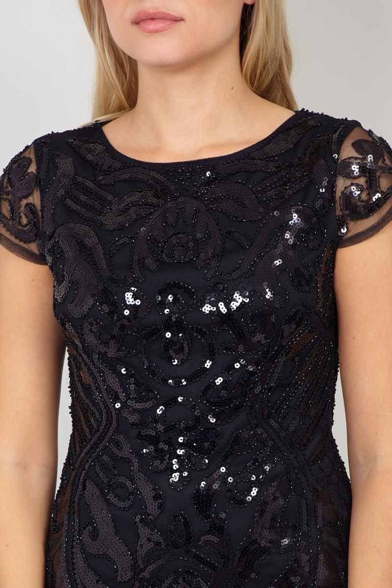 Black | Embroidered Sequin Bodycon Dress