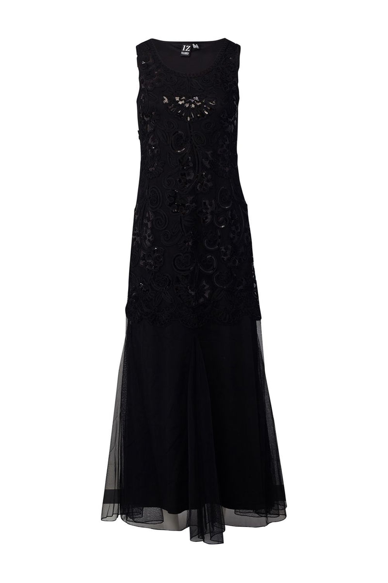 Black | Embroidered Fishtail Maxi Dress