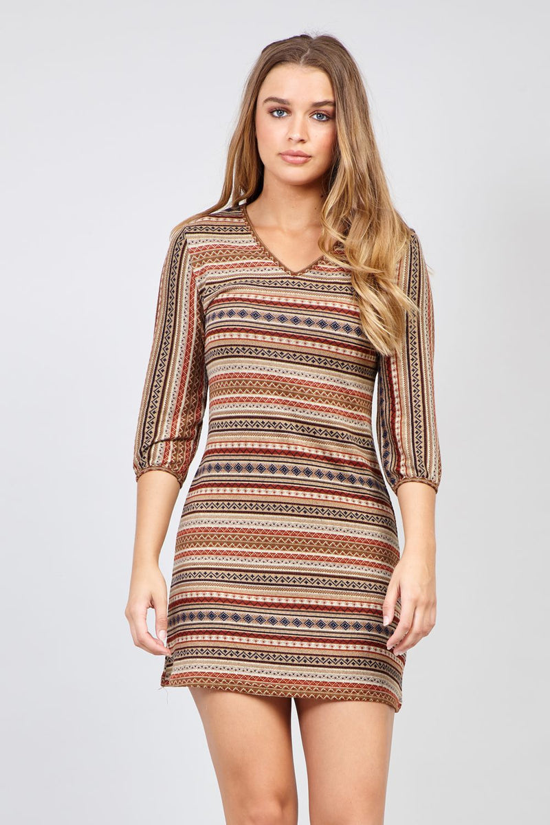 Brown | Aztec Stripe Knitted Dress