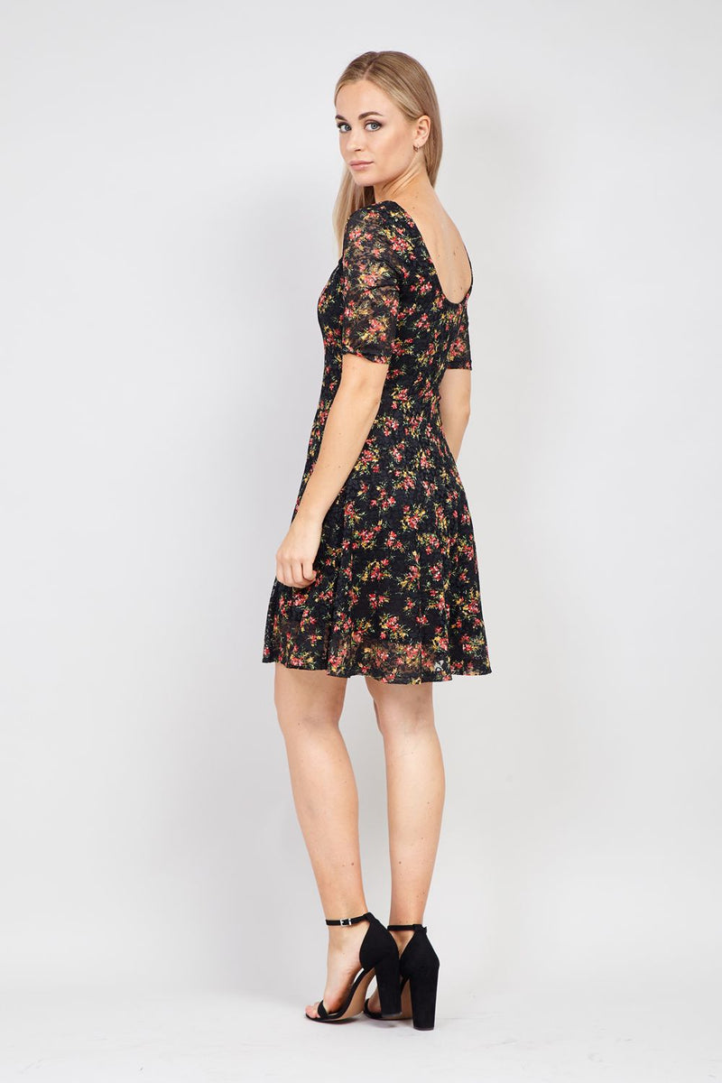 Black | Floral Lace Skater Dress