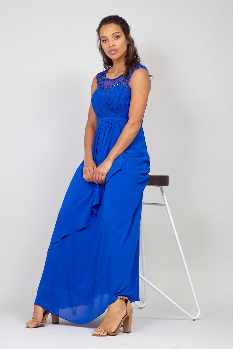 Blue | Embellished Empire Waist Maxi Dress
