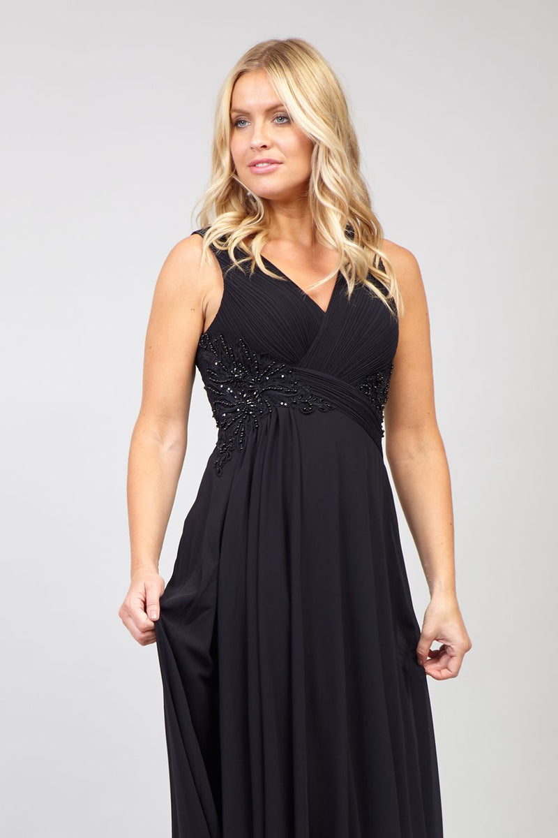Black | Embellished Wrap Front Maxi Dress