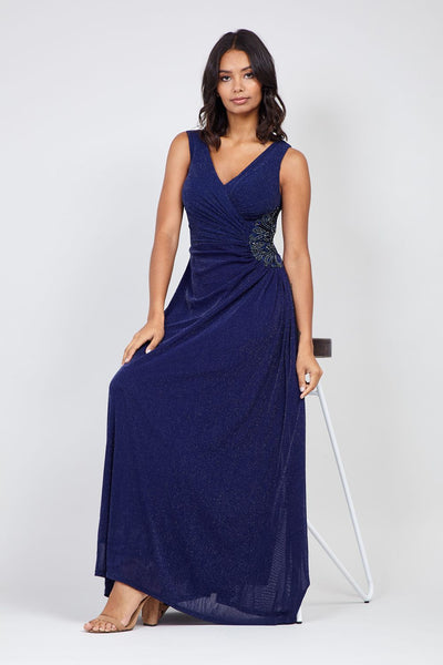 Navy | Ruched Sequin Side Maxi Dress