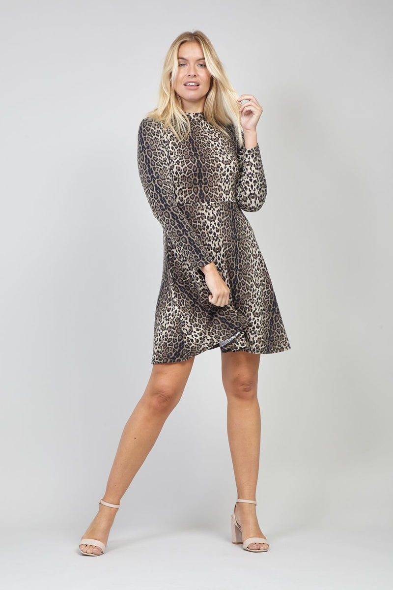 Brown | Animal Print Fit & Flare Dress