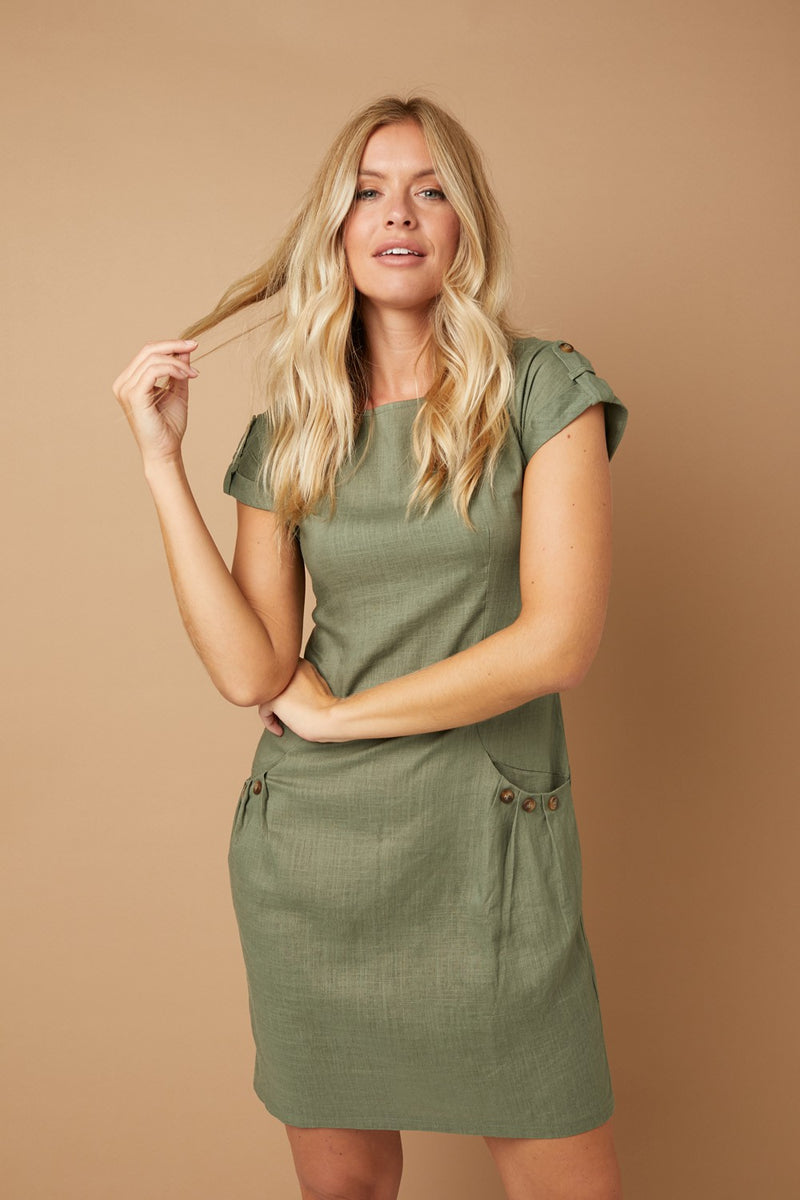 Linen Look Shift Dress with Pockets