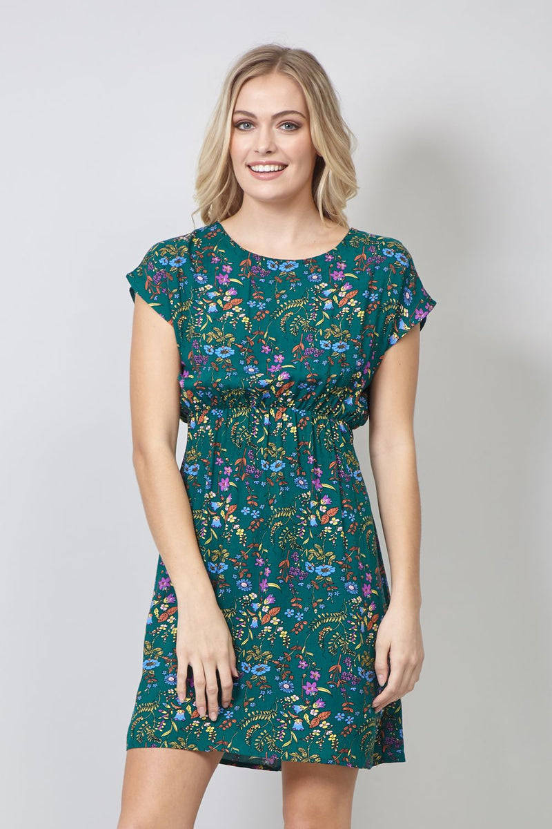 Green | Ditsy Floral Tie Back Tea Dress