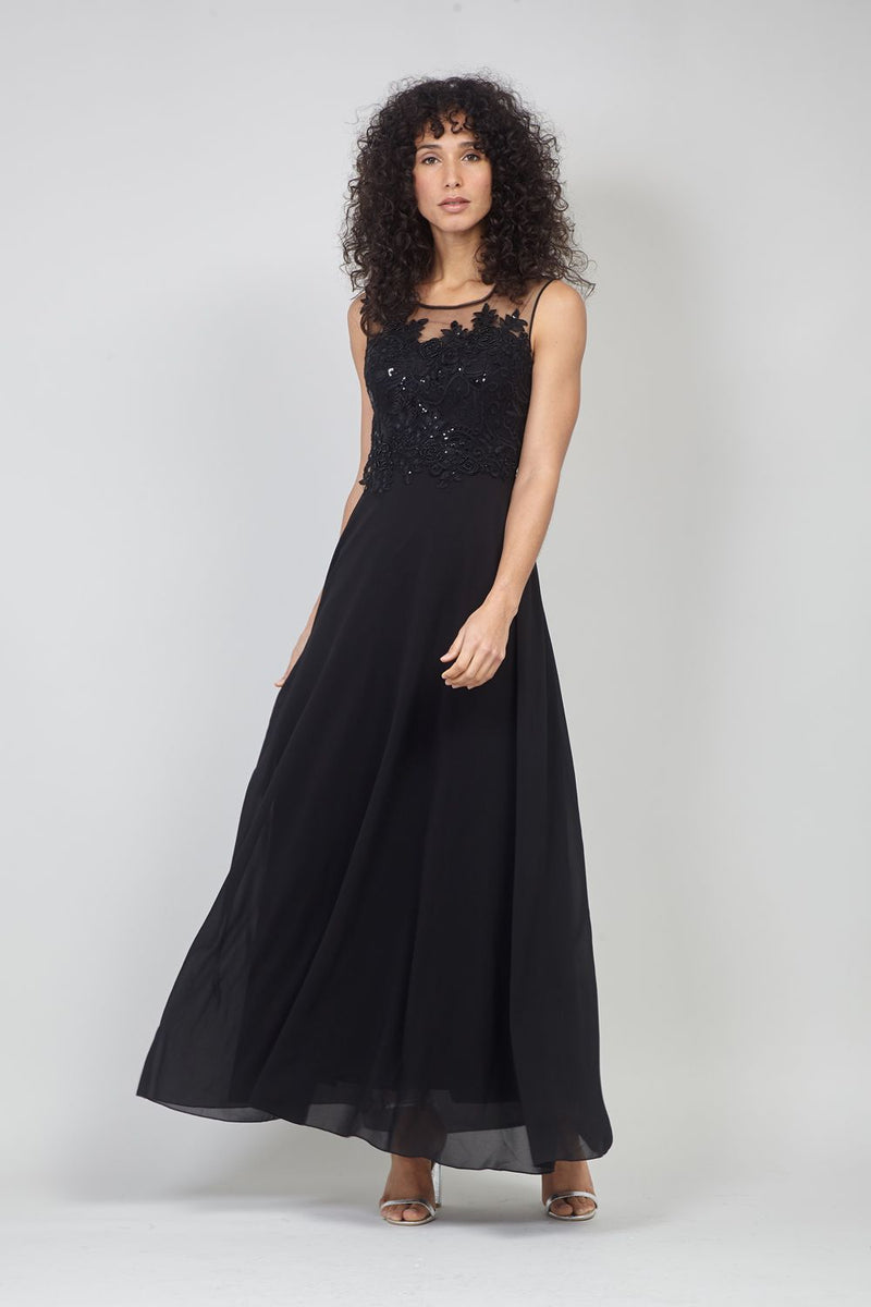Black | Lace Bodice Gown with Sheer Back