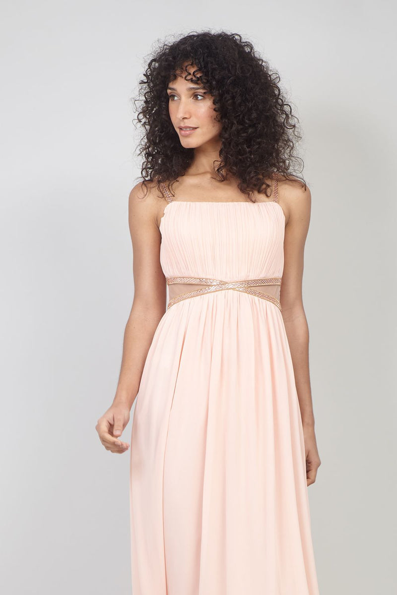 Peach | Pleat Front Maxi Dress with Sheer Panels