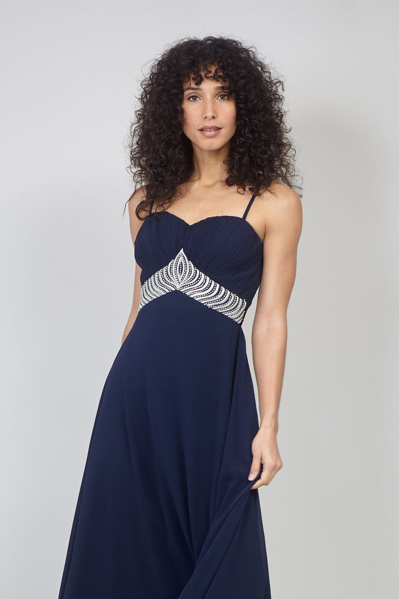 Navy | Embellished Waist Maxi Dress