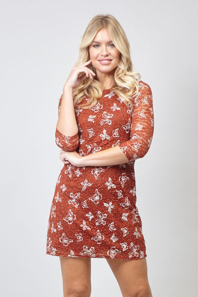 Red | Butterfly & Lace Shift Dress