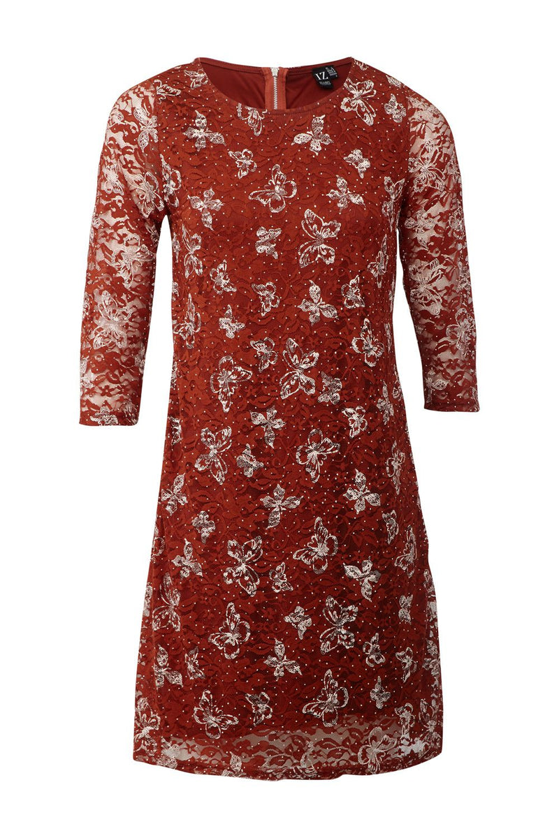 Rust | Butterfly & Lace Shift Dress