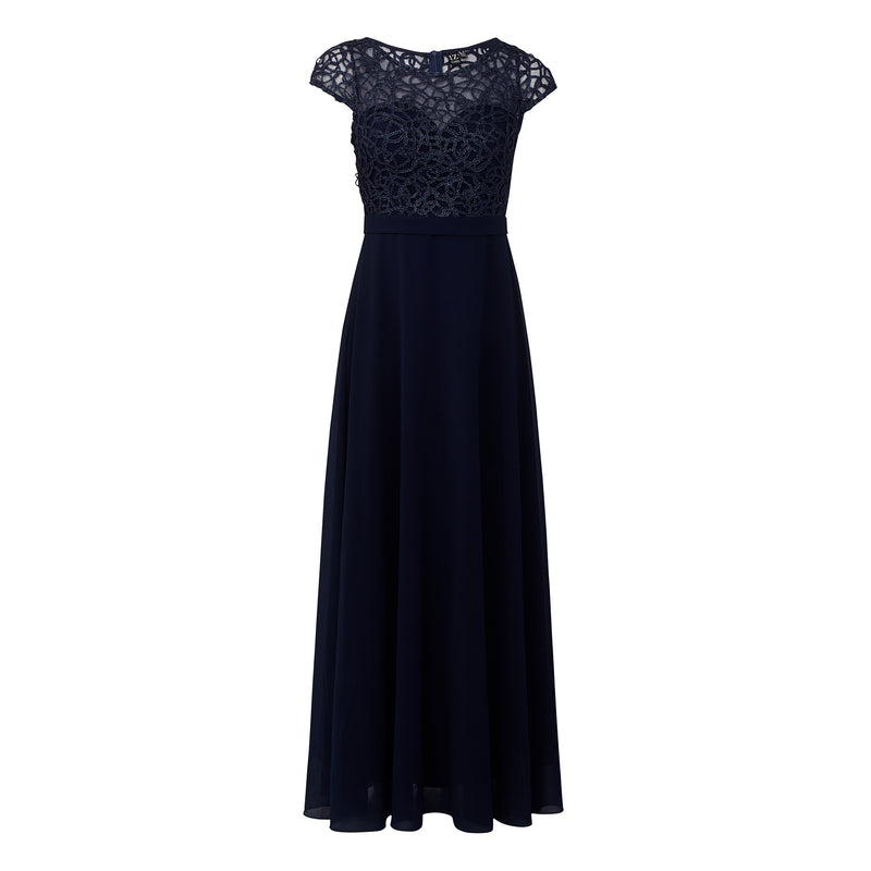 Navy | Lace Bodice Maxi Formal Dress