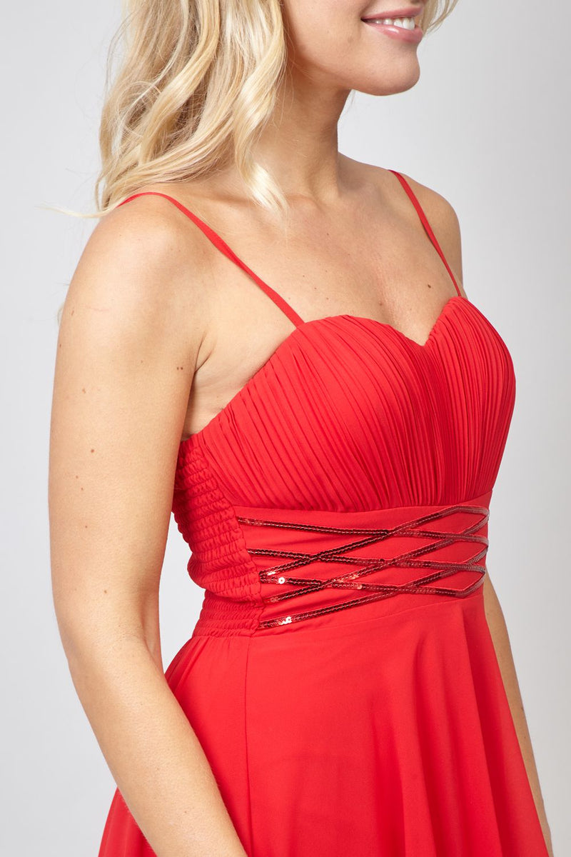 Red | Strappy High Low Dress