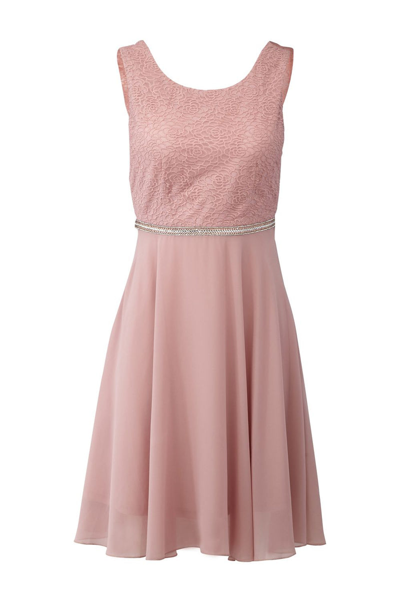 Pink | Lace Bodice Skater Dress