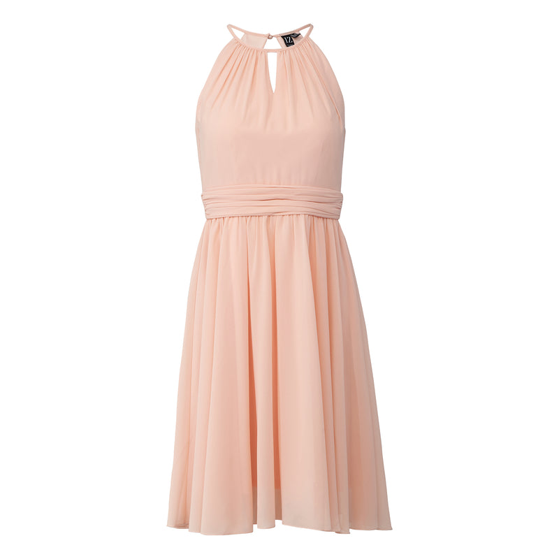 Peach | Keyhole Back Skater Dress