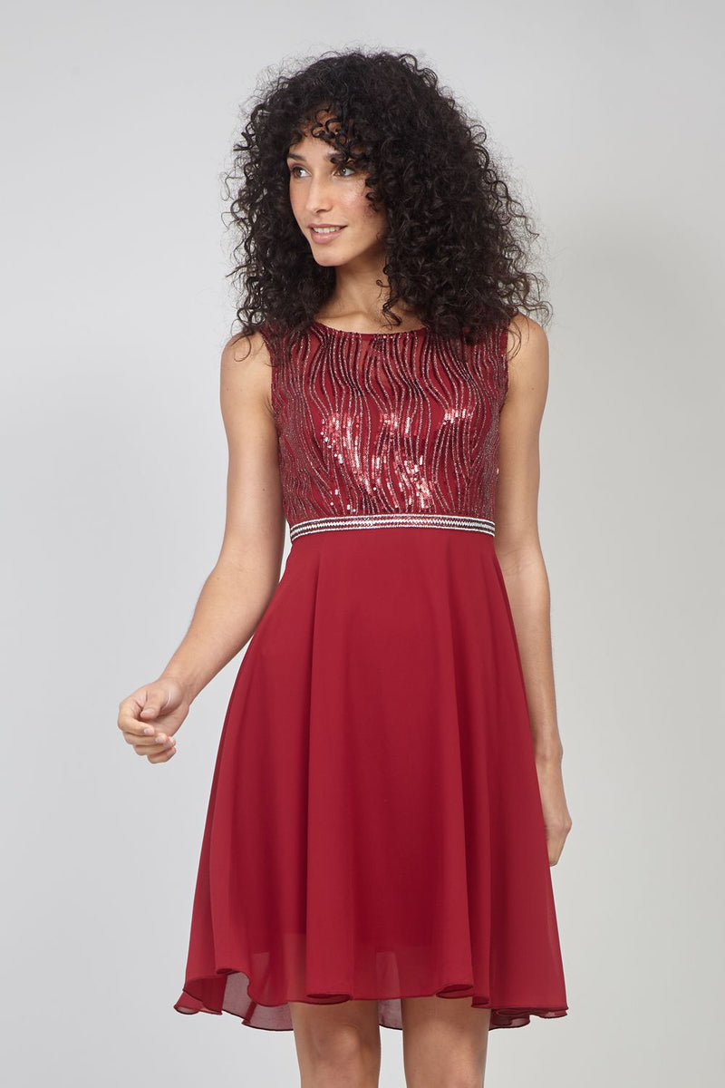 Burgundy | Backless Skater Dress with Sequin Bodice