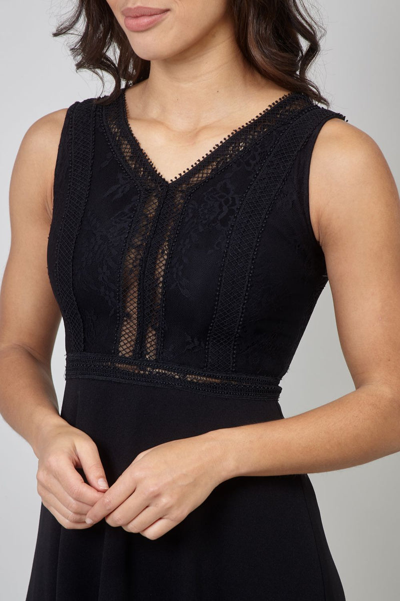 Black | Lace Top Fit & Flare Midi Dress