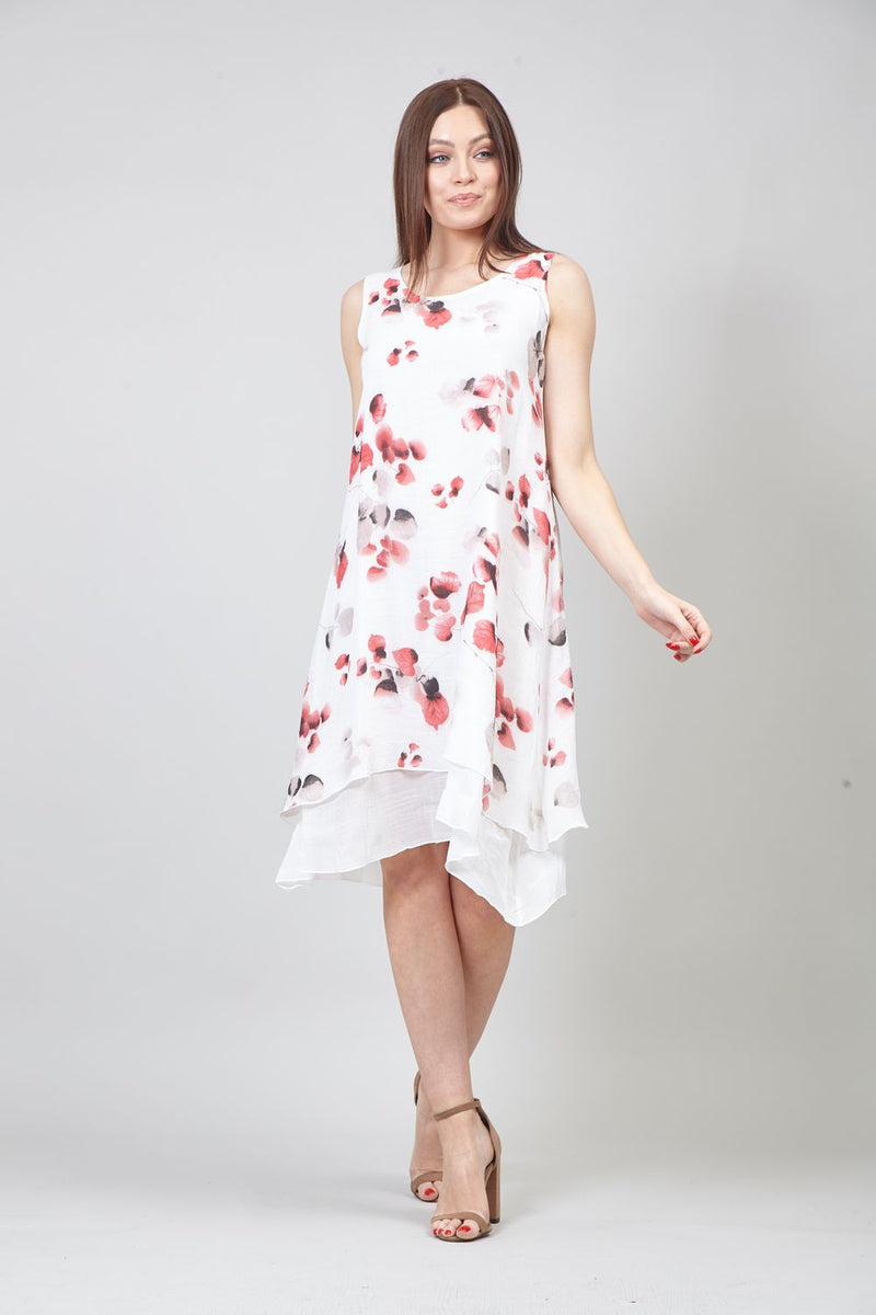 Red | Floral Print Layered Smock Dress