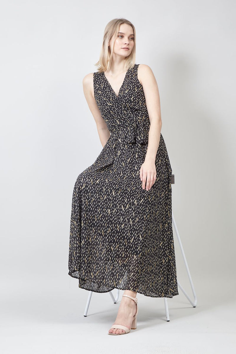 Black | Wrap Front A-Line Maxi Dress