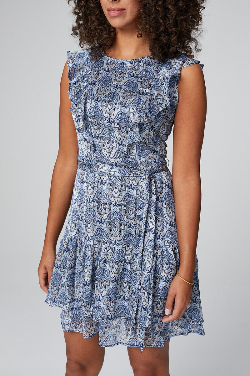 Blue | Paisley Fit & Flare Tie Waist Dress