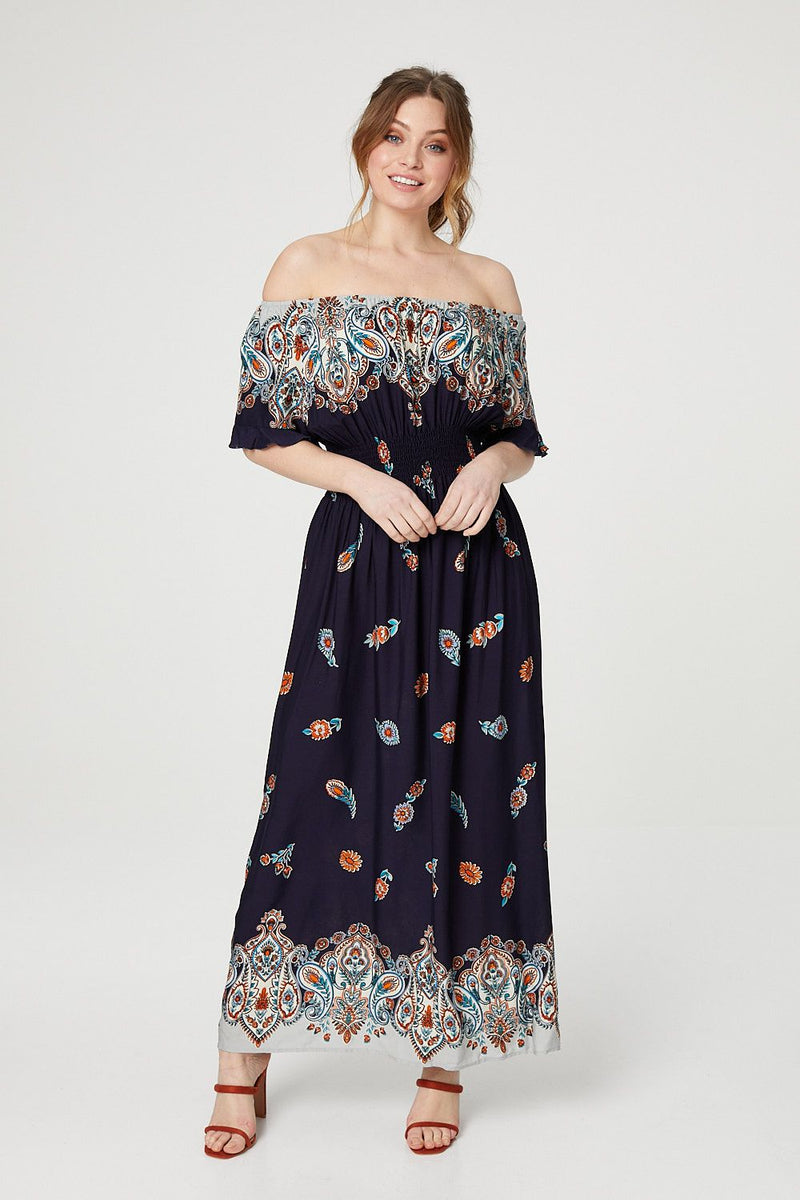 Navy | Paisley Print Bardot Neck Maxi Dress