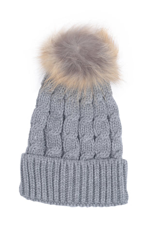 Cable Knit Pom-Pom Hat