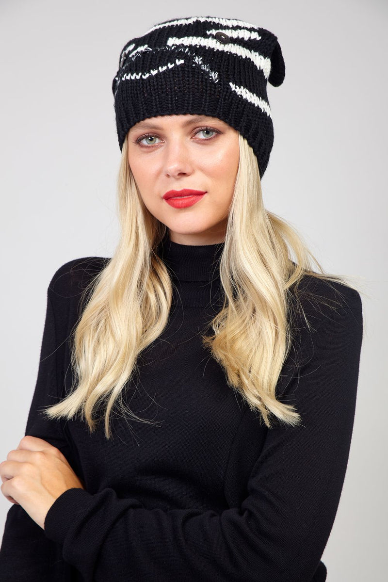 Black | Knitted Hat with Ears