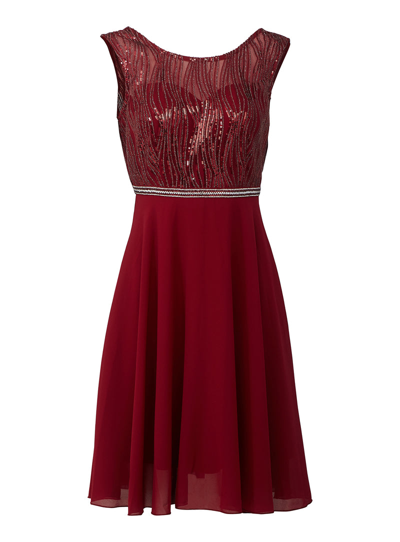 Red | Backless Skater Dress with Sequin Bodice