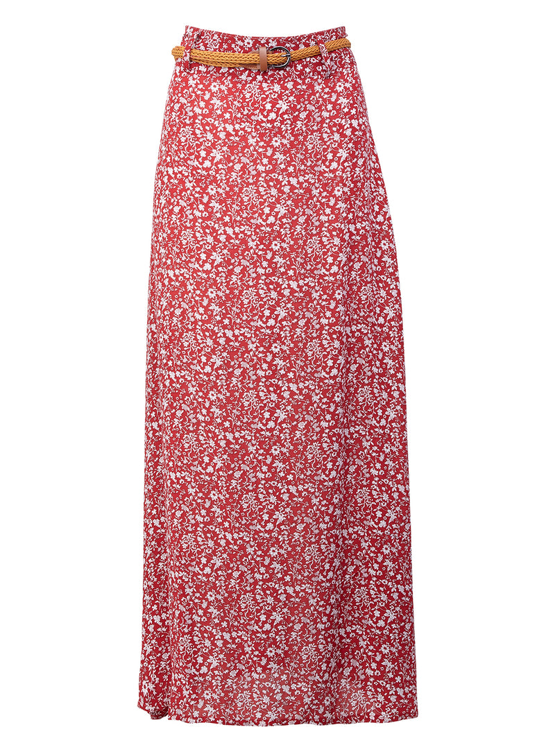 Red | Ditsy Floral Belted Maxi Skirt